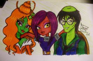 Ginger, Ozzy and Gataro by Xibira