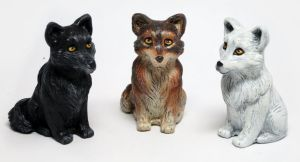 Custom Painted Wolf Figurines by LeiliaClay
