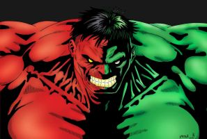 Red and Green Hulk - Tyndall and me by pascal-verhoef