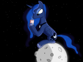 Luna on the moon drinking coffee by Tech--Pony