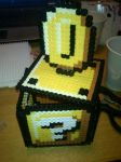 Mario Question Block with Coin - Perler or Hama by Chrisbeeblack