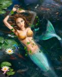 Beautiful Mermaid In Lake With Lilies
