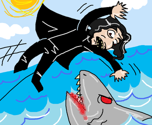snape jumps over a shark by KnifeGuy