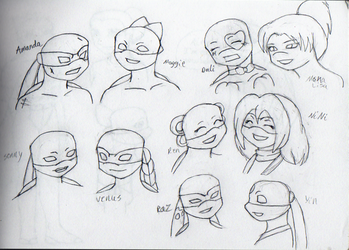 TMNT Girl Headshots by wachey