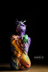 Impressionism meet Abstract by KazimBodypainting