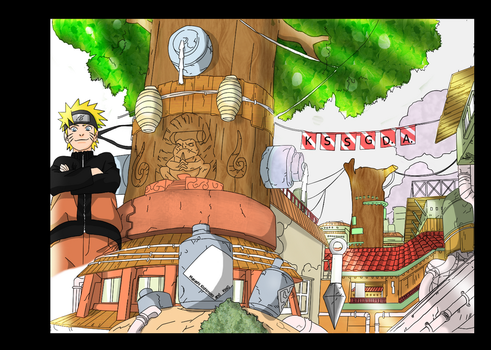 Konoha and Naruto color by KssG