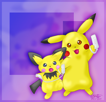 Pikachu and Pichu by lightningchan