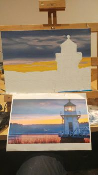 Lighthouse at Dawn WIP by MistressJainali