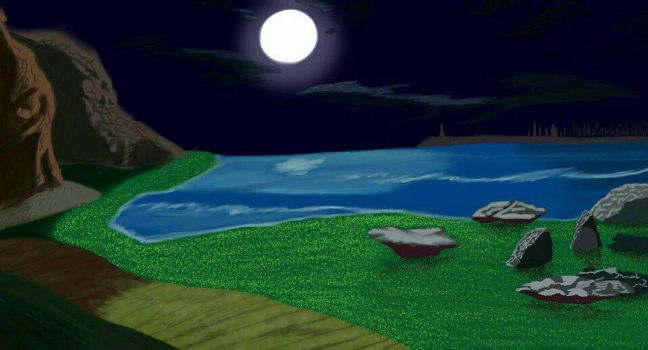 Moonlight Night by Green Beach (concept art) by AnansiOneiros