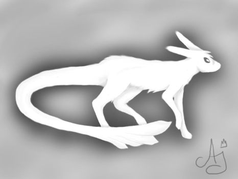 pure white creature by WingedWhiteWolfHeart