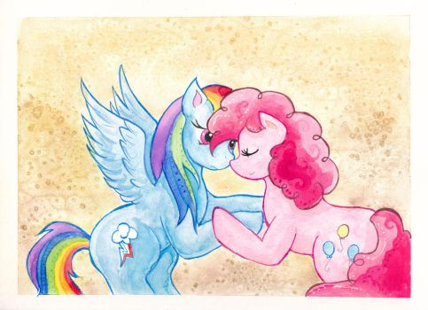 Pinkie Pie and Rainbow Dash by kaikaku