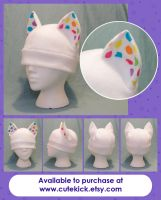 White Neon Rainbow Spotted Ear Cat Hat by cutekick