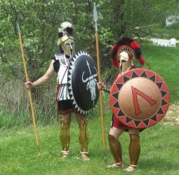 Greek Hoplites by WestytheTraveler