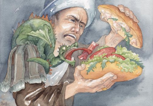 Discworld - Sam Vimes and the Battle of the Bacon by Riana-art