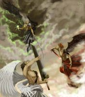 The Battle of Seraphim-FF7CC by Athena-Erocith