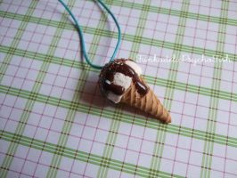 Big Ice Cream Necklace 1 - Cream With Topping by FunkadelicPsychoFish