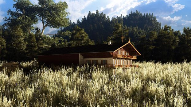 Farmhouse in woods by ShannShah