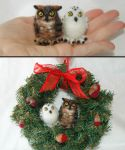 Needle felted Owls ornament by amber-rose-creations
