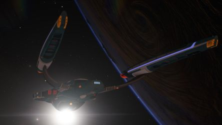 Uss Vesta Leaving Orbit by PUFFINSTUDIOS