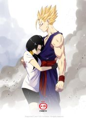 the first embrace_DBZ Fan art by AtariBetch