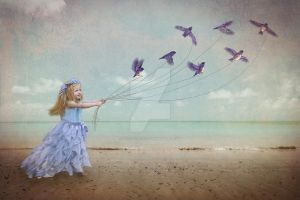 Bluebirds on a beach by carlyvincent