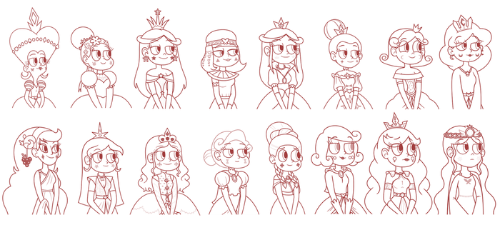 Queens of Mewni - Biography Paintings Sketch by jgss0109