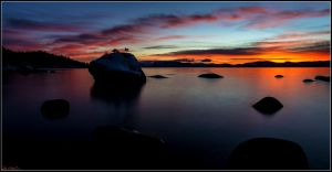 Evening at Tahoe's Bonsai Rock by sellsworth