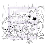 Mommy Cat Shielding Her Kittens From the Rain by EmilyCammisa