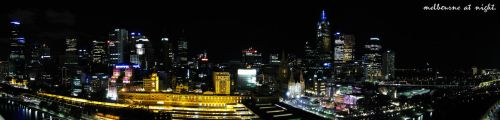 Melbourne Skyline at Night by reeceb