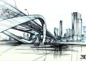 Dubai bridge in self-arranged space by Marek-Bilinski