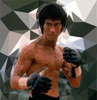 Bruce Lee Polygon art by hand by trandoductin