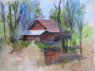 Cabin 15 min Watercolor Painting by guernica2009