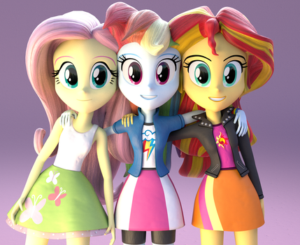 Fluttershy, Rainbow and Sunset Shimmer by GriferdFornten