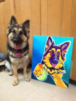 Mace And Her Painting by dawgart