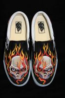 Custom Vans Skull in Flames by VICTOR5