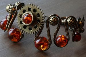 Steampunk bracelet with Gear and Amber by CatherinetteRings