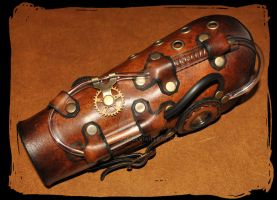 steampunk leather bracer by Lagueuse