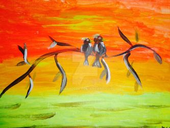 Hand painted love birds at sunset by Buffy2008