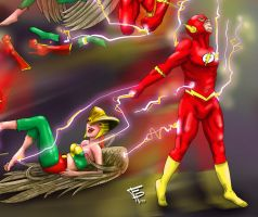 The Flash and Hawk Girls Final Tickle by Fantasy-Play