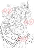 Sona And Miss fortune line drowing by TORN-S