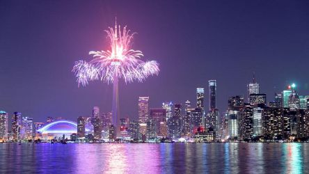 Beautiful CN Tower Fireworks Near the Lake by ROGUE-RATTLESNAKE