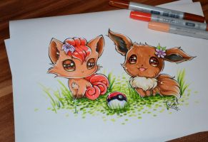 Chibi Vulpix and Eevee
