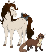 Horse Babe Meets A Weird Dog -CM- by MBPanther
