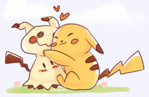 (commission) mimikyu and pikapi by cakeyquake