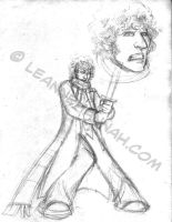 4th Doctor Cartoony Sketch by stratosmacca