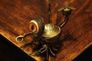 Little Steampunk Scorpion Robot Sculpture by CatherinetteRings