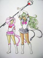 Chibimoon and Pluto by ScorpionOcean