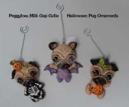 2014 OOAK Pug Halloween Ornaments by peggytoes