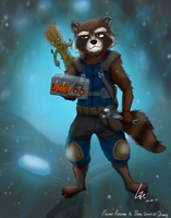 Rocket Raccoon and Baby Groot by lobowupp