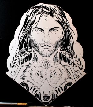 White Wolf PAPER CUTTING by Snowboardleopard